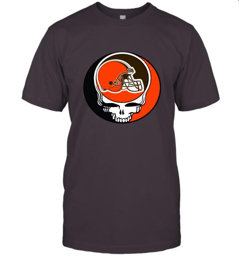 kdsp nfl team cleveland browns x grateful dead logo band jersey t shirt 60 front dark grey