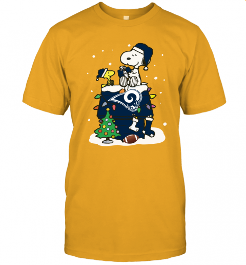jm19 a happy christmas with los angeles rams snoopy jersey t shirt 60 front gold
