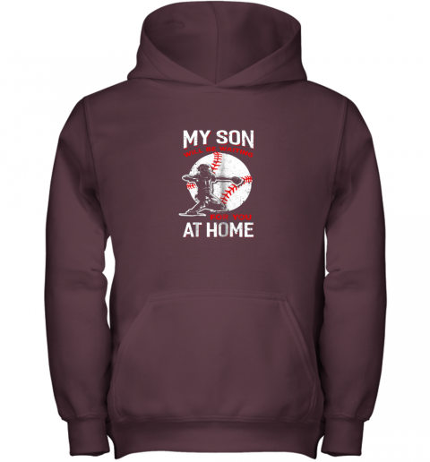 osfn my son will be waiting for you at home baseball dad mom youth hoodie 43 front maroon