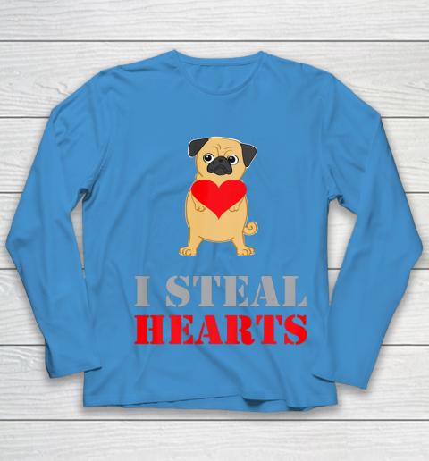 Pug Dog Valentine Shirt I Steal Hearts Youth Long Sleeve 5