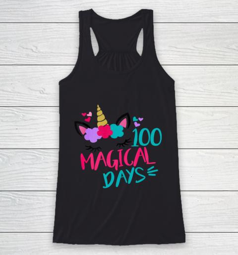 Kids 100 Magical Days Cute 100 Days of School Girls Unicorn Racerback Tank