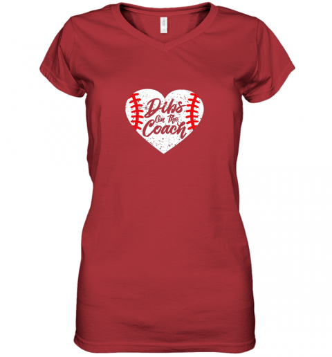 11ll dibs on the coach funny baseball women v neck t shirt 39 front red