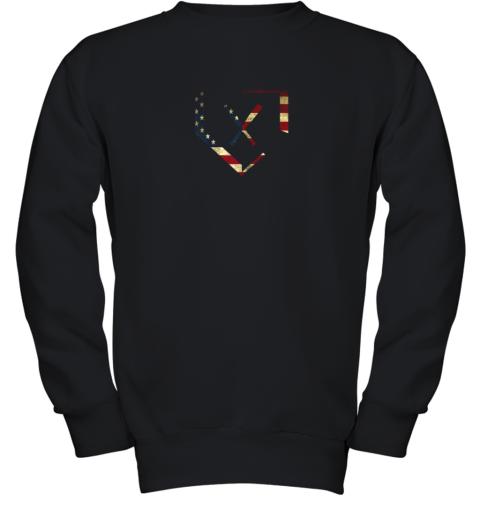 Home Plate Baseball Bats American Flag Shirt Baseballin Youth Sweatshirt