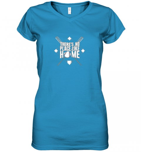 mjtu there39 s no place like home baseball tshirt mom dad youth women v neck t shirt 39 front sapphire