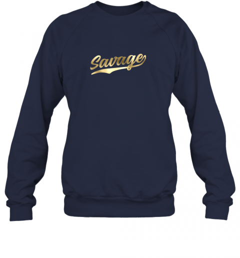 hw0q savage shirt retro 1970s baseball script font sweatshirt 35 front navy