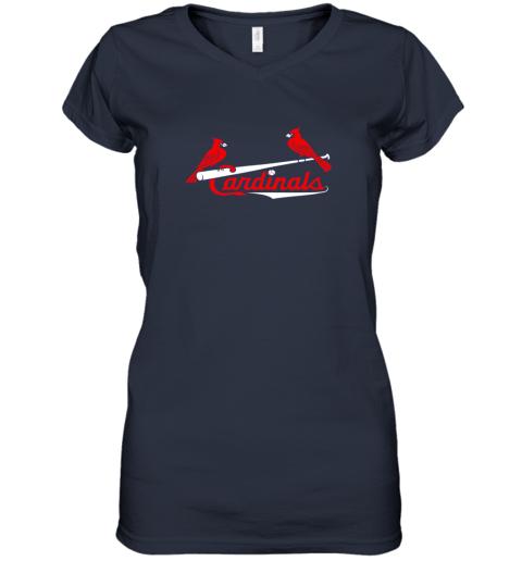 l02g cardinal sports shirtst louis baseball fan women v neck t shirt 39 front navy