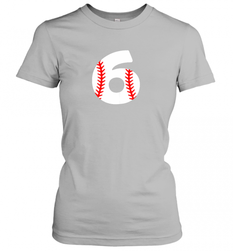 p84w sixth birthday 6th baseball shirtnumber 6 born in 2013 ladies t shirt 20 front sport grey