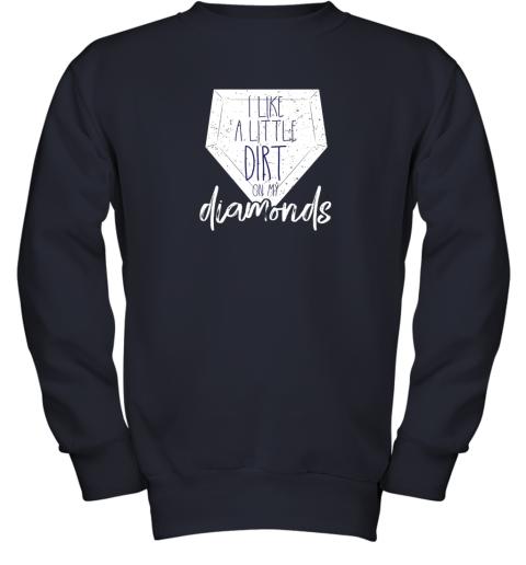 7qbs i like a little dirt on my diamonds baseball youth sweatshirt 47 front navy