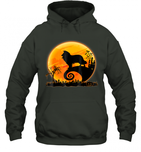 Rough Collie Dog And Moon Funny Halloween Gift Hoodie