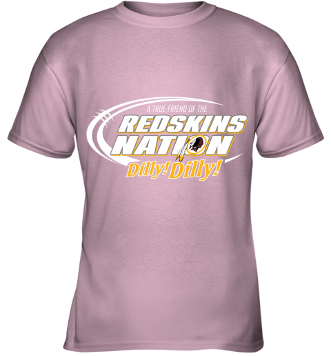 ulz6 a true friend of the redskins nation youth t shirt 26 front light pink