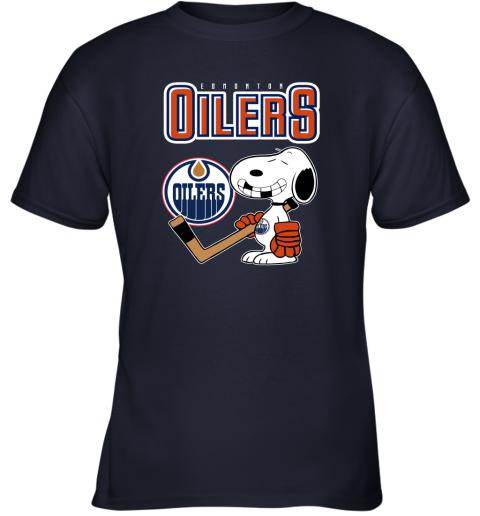 qyzy edmonton oilers ice hockey broken teeth snoopy nhl shirt youth t shirt 26 front navy