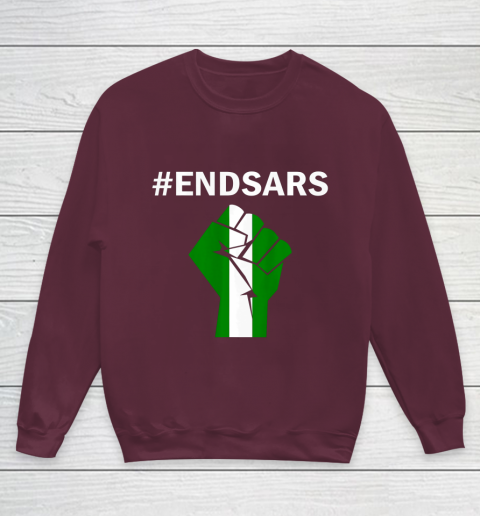 EndSARS End SARS Nigeria Flag Colors Strong Fist Protest Youth Sweatshirt 4