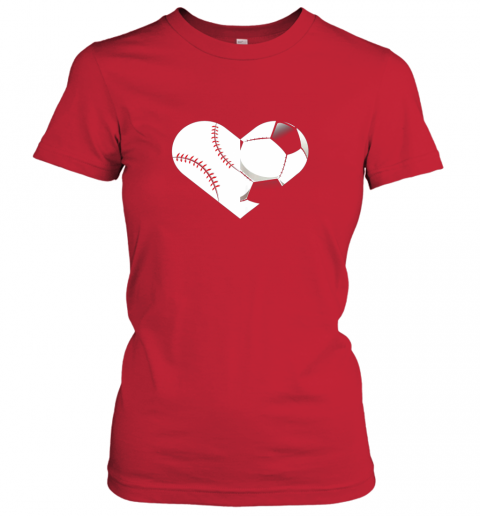 ujsa soccer baseball heart sports tee baseball soccer ladies t shirt 20 front red