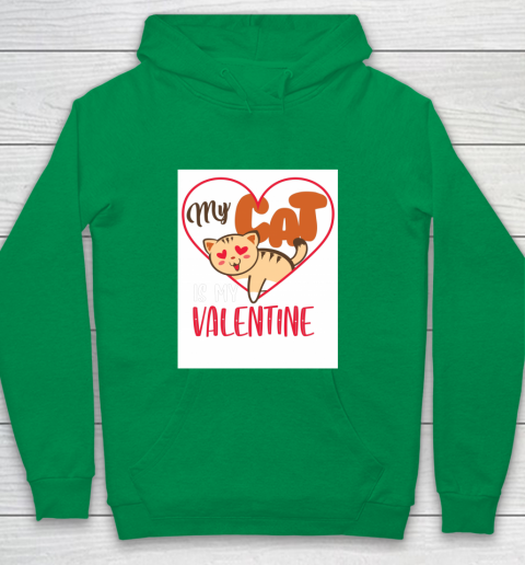 Cute My Cat Is My Valentine Cat Lover Valentines Day Gift Youth Hoodie 4