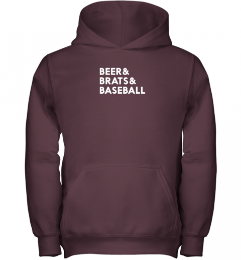 u3r8 beer brats baseball summer ampersand list youth hoodie 43 front maroon