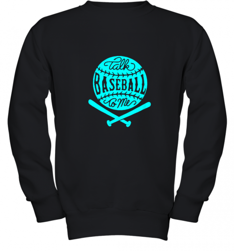 Talk Baseball To Me Groovy Ball Bat Silhouette Youth Sweatshirt