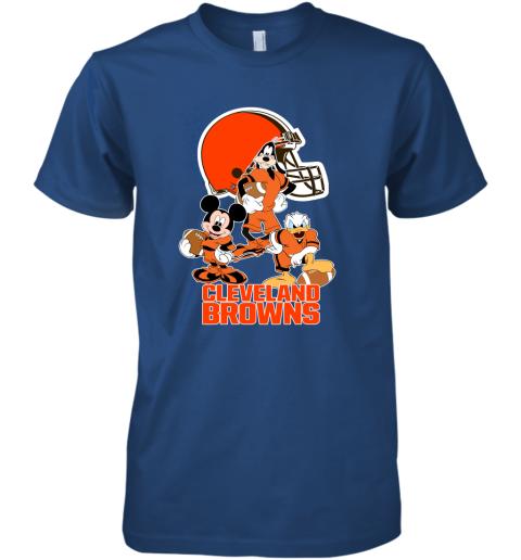 guzu mickey donald goofy the three cleveland browns football premium guys tee 5 front royal
