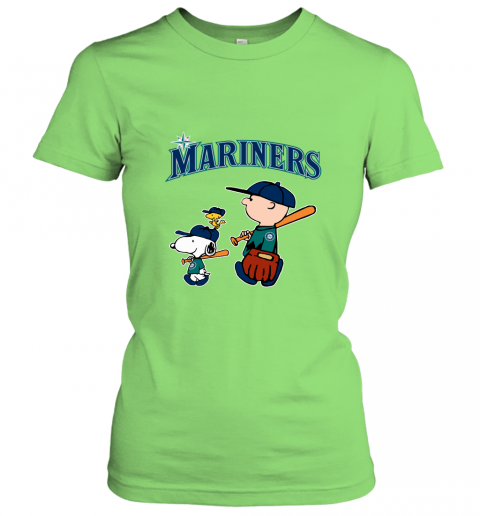 qwzx seatlle mariners lets play baseball together snoopy mlb shirt ladies t shirt 20 front lime
