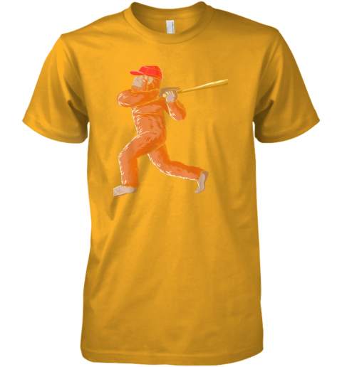 jslr bigfoot baseball sasquatch playing baseball player premium guys tee 5 front gold