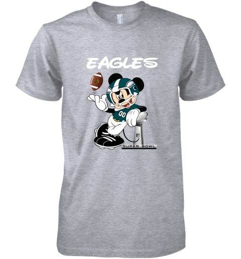 yz1k mickey eagles taking the super bowl trophy football premium guys tee 5 front heather grey