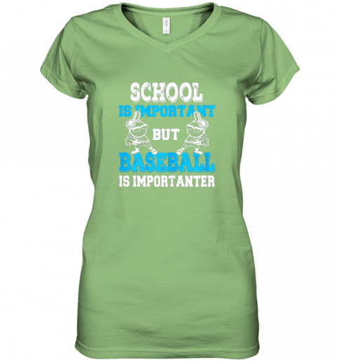 wrim school is important but baseball is importanter boys women v neck t shirt 39 front lime