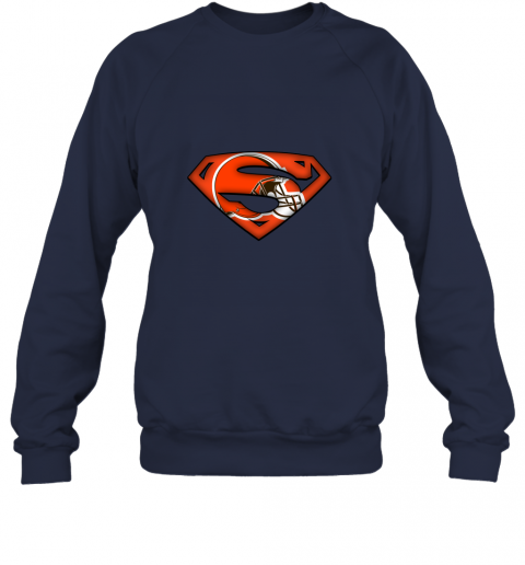 axik we are undefeatable the cleveland browns x superman nfl sweatshirt 35 front navy