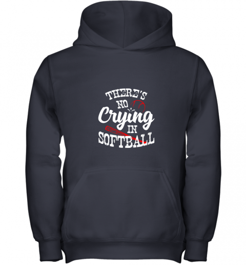 3lbt theres no crying in softball game sports baseball lover youth hoodie 43 front navy