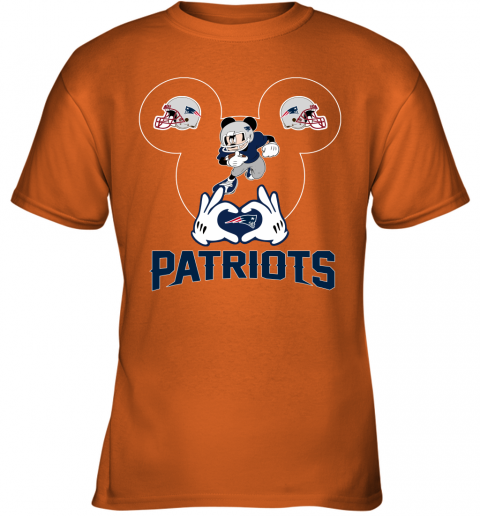 tu6x i love the patriots mickey mouse new england patriots youth t shirt 26 front safety orange