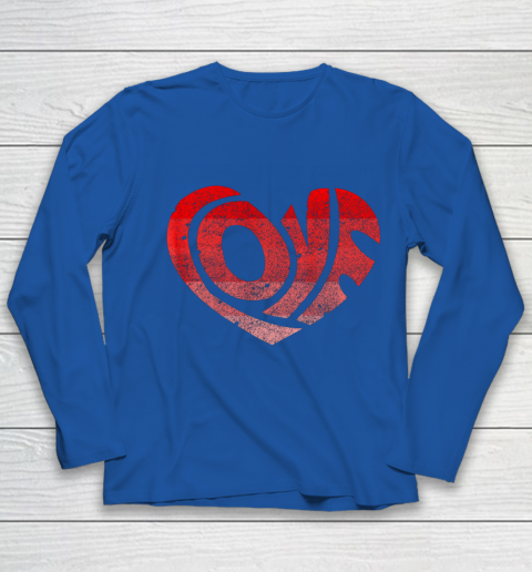 Retro Valentine Heart Shirt Great Valentines Day Gift Youth Long Sleeve 7