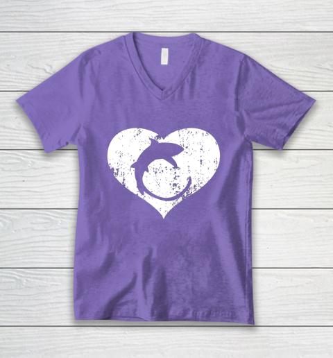 I Love Sharks Gifts Thresher Shark Heart Valentine Gift V-Neck T-Shirt 8