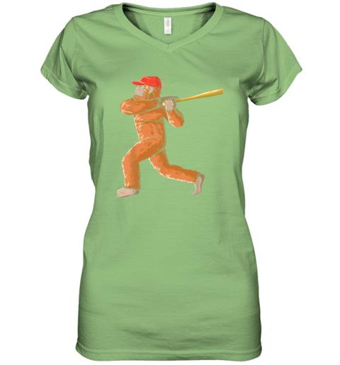 c7nb bigfoot baseball sasquatch playing baseball player women v neck t shirt 39 front lime
