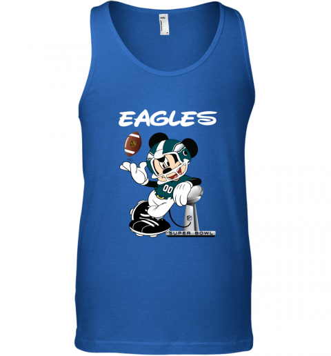 pugi mickey eagles taking the super bowl trophy football unisex tank 17 front royal