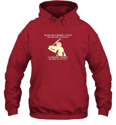 u9rh mens behind every baseball player is a dad that believes hoodie 23 front red
