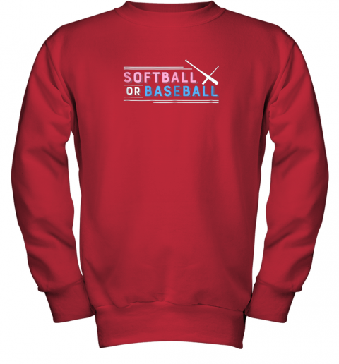 jlj7 softball or baseball shirt sports gender reveal youth sweatshirt 47 front red