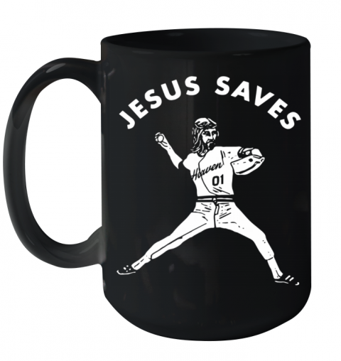 Jesus Saves Baseball Ceramic Mug 15oz