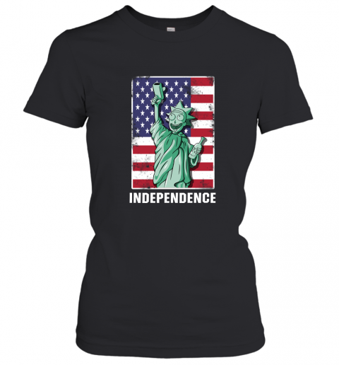 nzlr rick and morty statue of liberty independence day 4th of july shirts ladies t shirt 20 front black