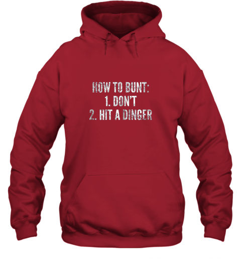 g0pm how to bunt hit a dinger funny baseball player home run fun hoodie 23 front red