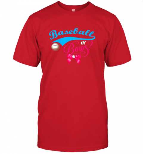nskq cute baseball or bows gender reveal party jersey t shirt 60 front red