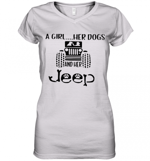 A Girl Her Dogs And Her Jeep Women's V-Neck T-Shirt