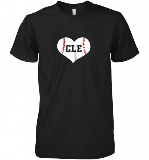 Cleveland Ohio Baseball Love Heart CLE Gift Jersey Fan Premium Men's T-Shirt