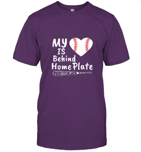 0osr womens my heart is behind home plate baseball bat mom dad gift jersey t shirt 60 front team purple