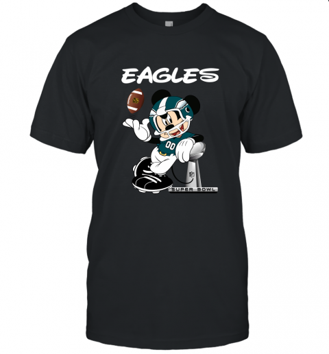 Mickey Eagles Taking The Super Bowl Trophy Football Unisex Jersey Tee