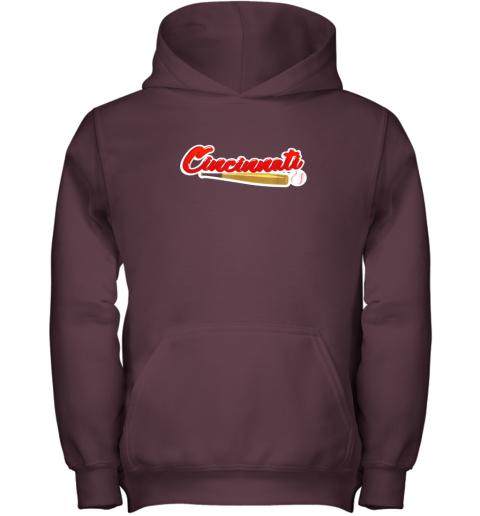 86id vintage cincinnati baseball shirt reds ohio baseball youth hoodie 43 front maroon