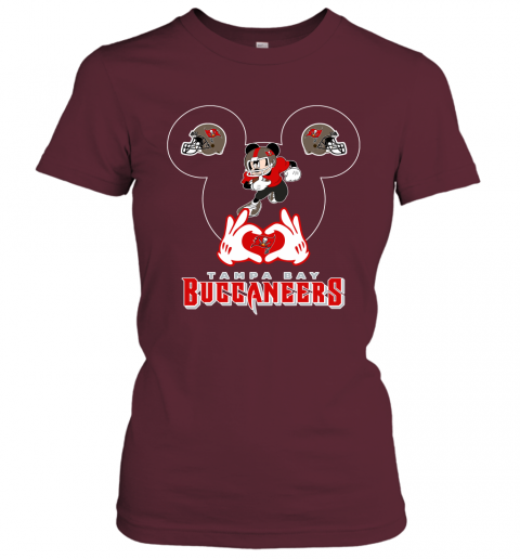 lrql i love the buccaneers mickey mouse tampa bay buccaneers s ladies t shirt 20 front maroon