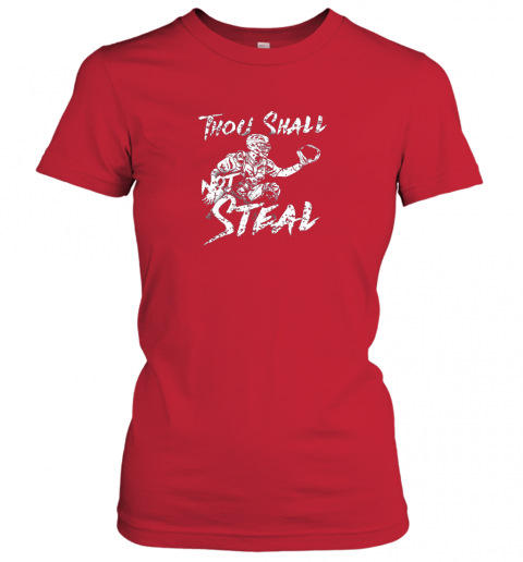 wmwi thou shall not steal baseball catcher ladies t shirt 20 front red