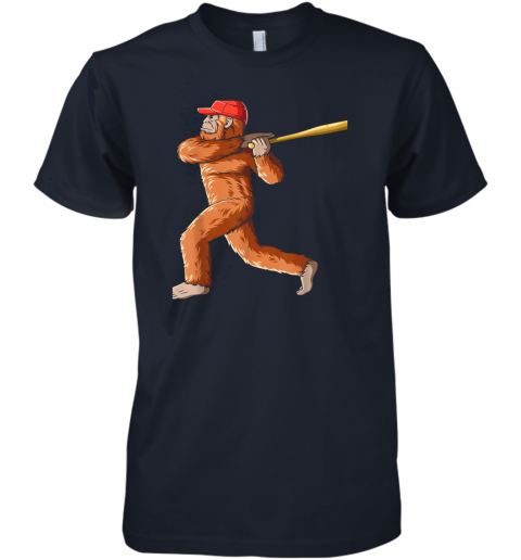 jslr bigfoot baseball sasquatch playing baseball player premium guys tee 5 front midnight navy