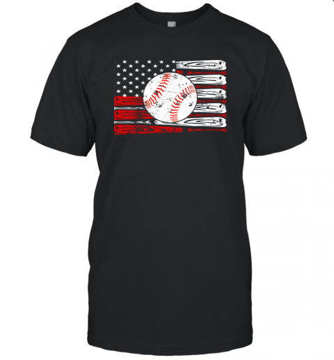 Vintage Baseball American Flag Shirt 4th Of July Gifts Unisex Jersey Tee