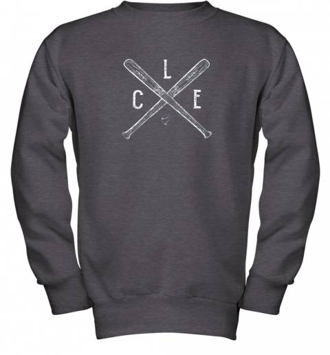utge vintage cleveland baseball shirt cleveland ohio youth sweatshirt 47 front dark heather