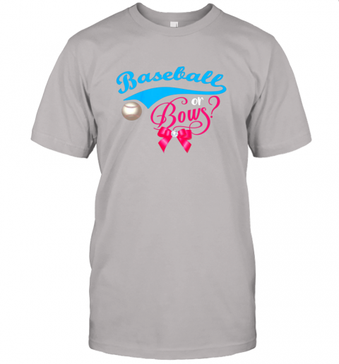 nskq cute baseball or bows gender reveal party jersey t shirt 60 front ash