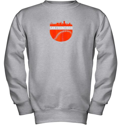 x0kx vintage downtown san francisco cali skyline baseball youth sweatshirt 47 front sport grey